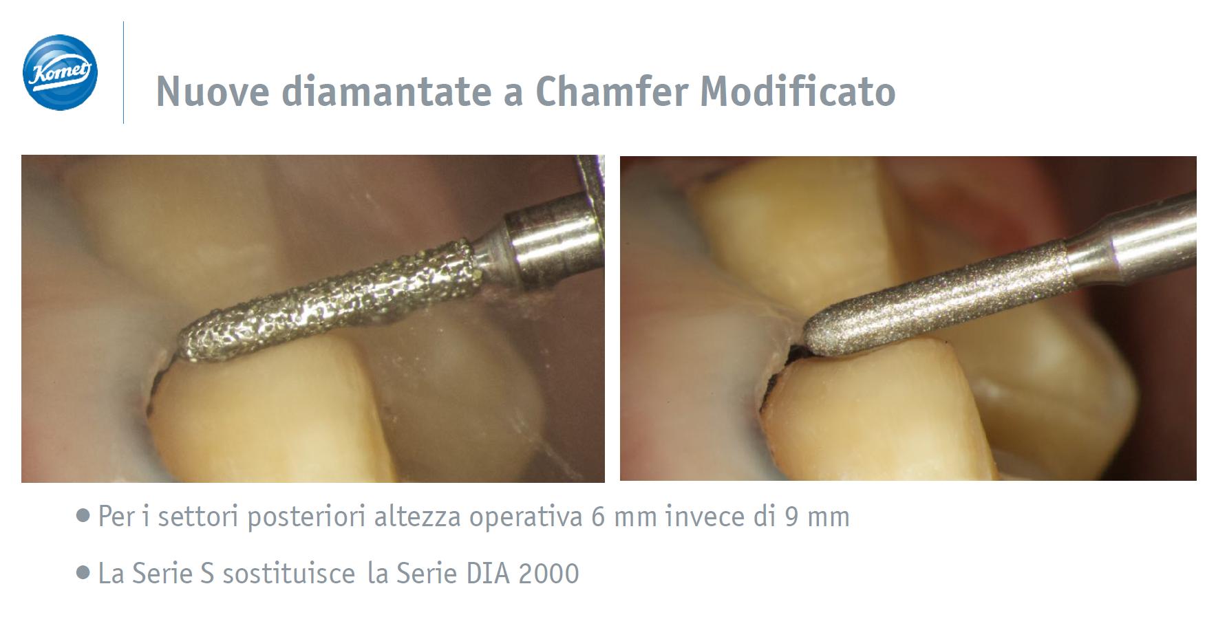 Nuove diamantate a chamfer modificato