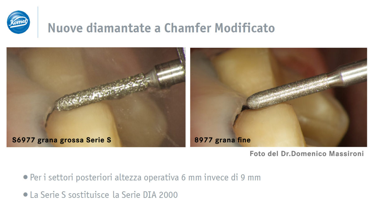 Nuove diamantate a chamfer modificato Dr Massironi