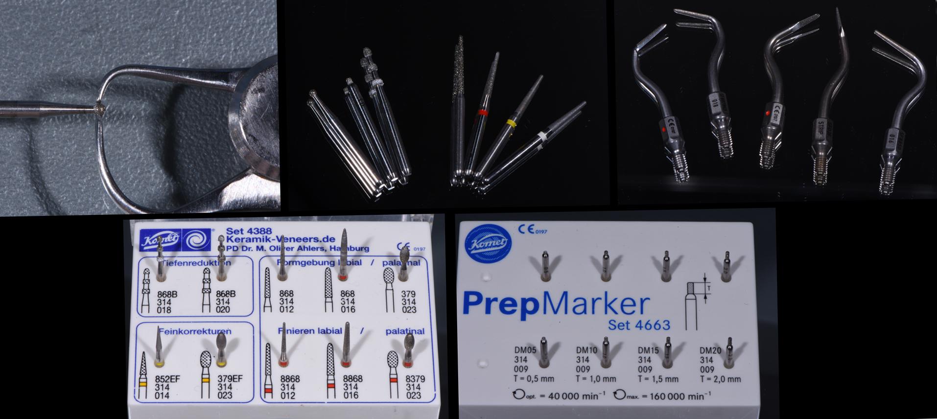Fig. 18 Frese ed inserti Komet utilizzati per le preparazioni protesiche e per la loro rifinitura.