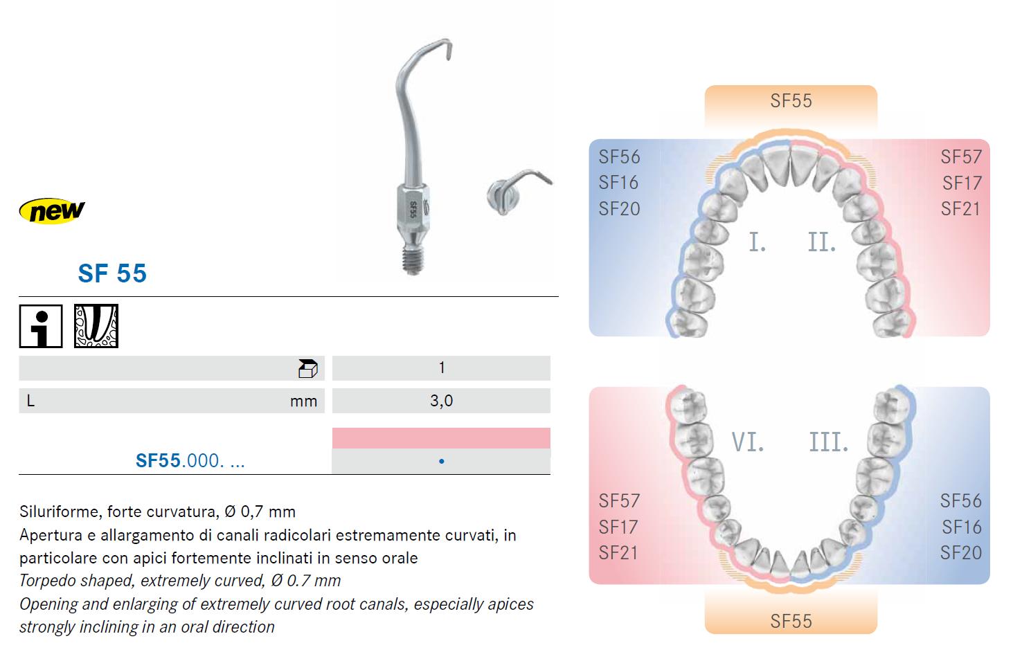 Punte soniche SF55 per endodonzia