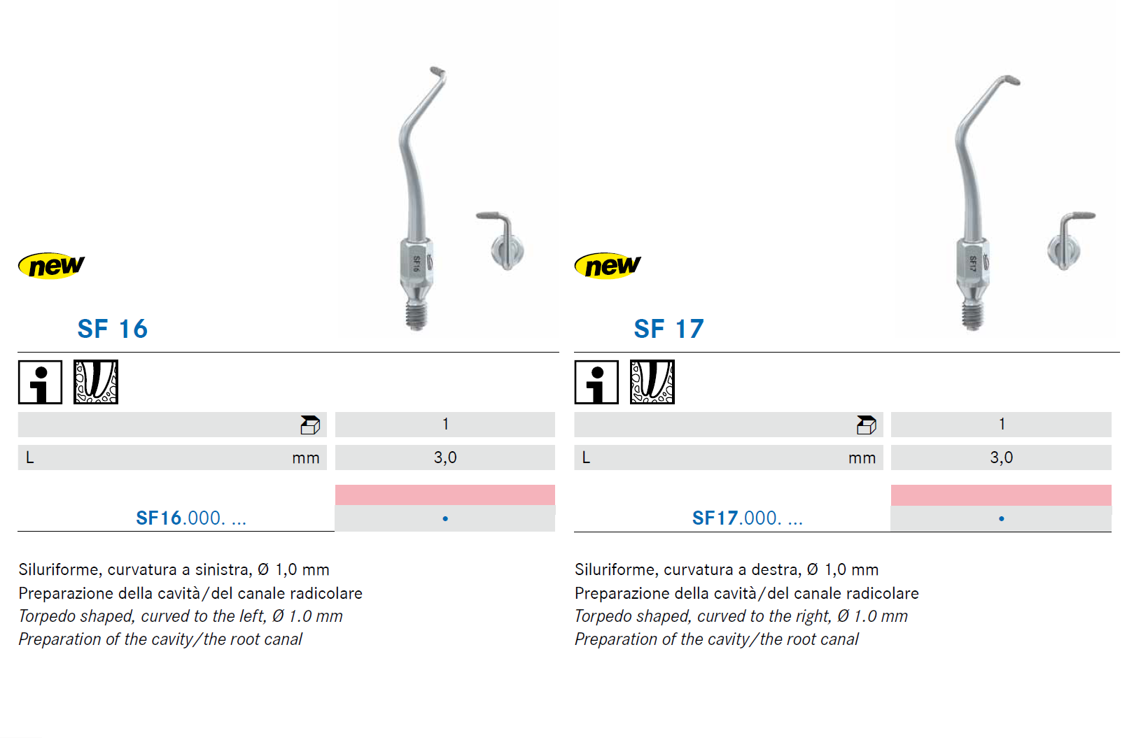 Punte soniche per endodonzia SF16 SF17