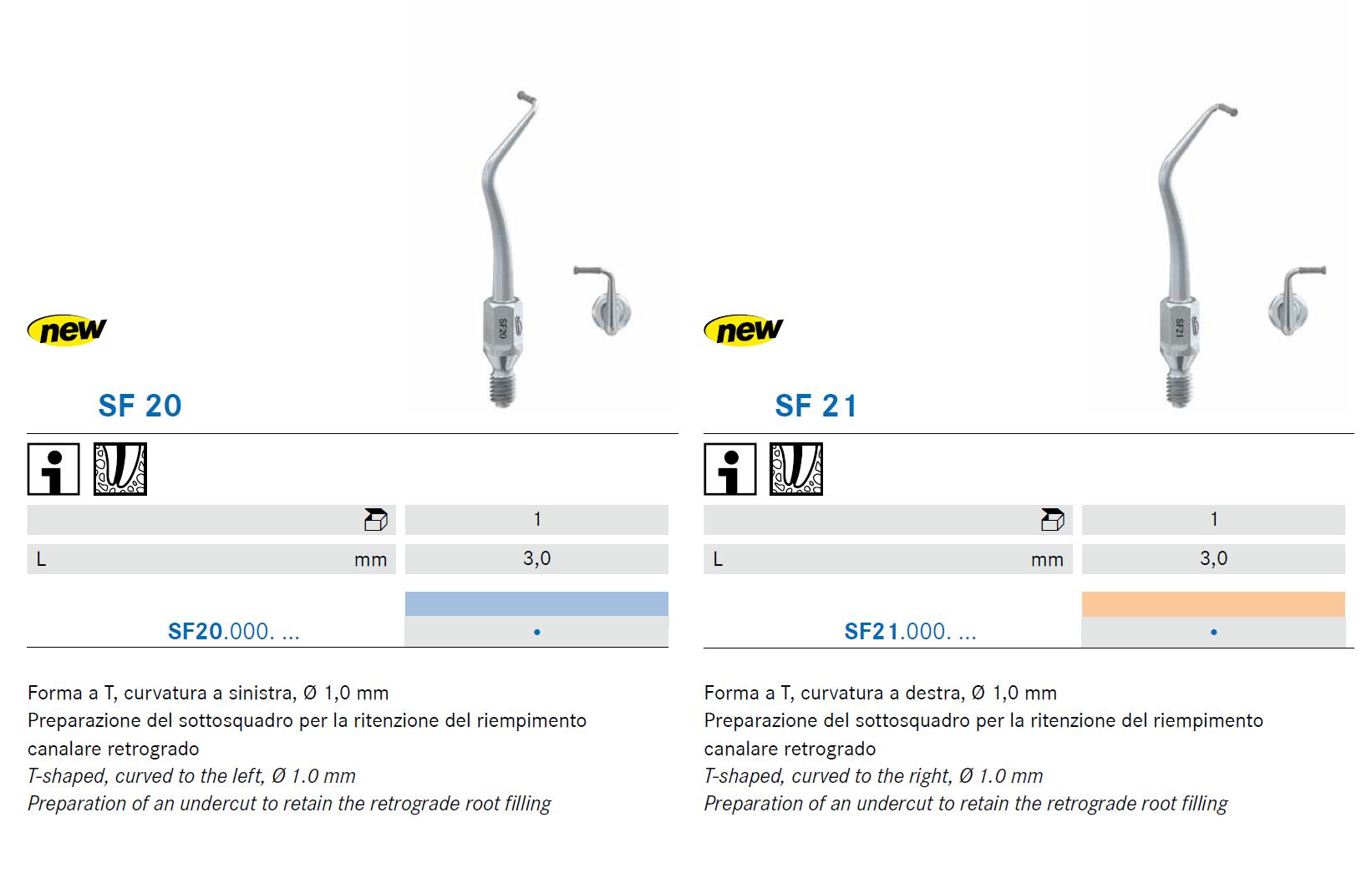Punte soniche per endodonzia SF20 e SF21